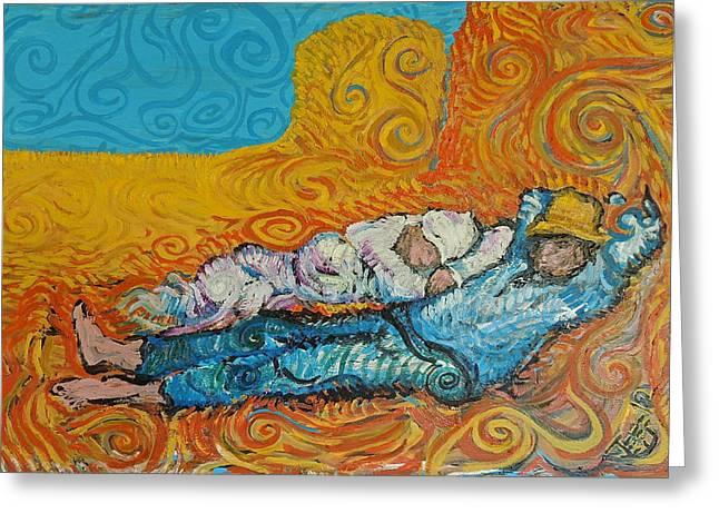 Van Gogh Style Greeting Cards - Siesta Greeting Card by Jeff Cummins