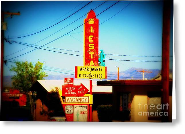 Route 66 Motel Sign Greeting Cards - Siesta Motel on Route 66  Greeting Card by Susanne Van Hulst