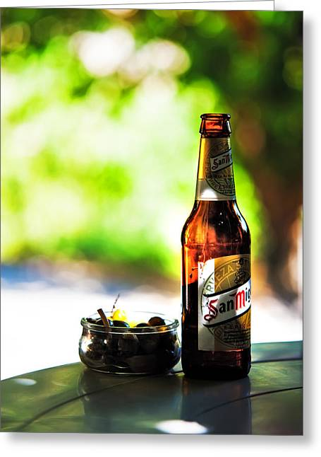 Bar San Miguel Greeting Cards - Siesta Time. Beer and Olives Greeting Card by Jenny Rainbow