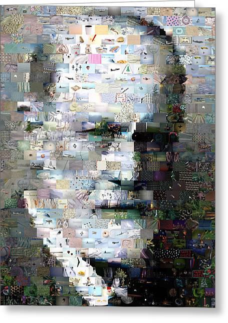 Freud Digital Art Greeting Cards - Sigmund Freud Mosaic Greeting Card by Paul Van Scott