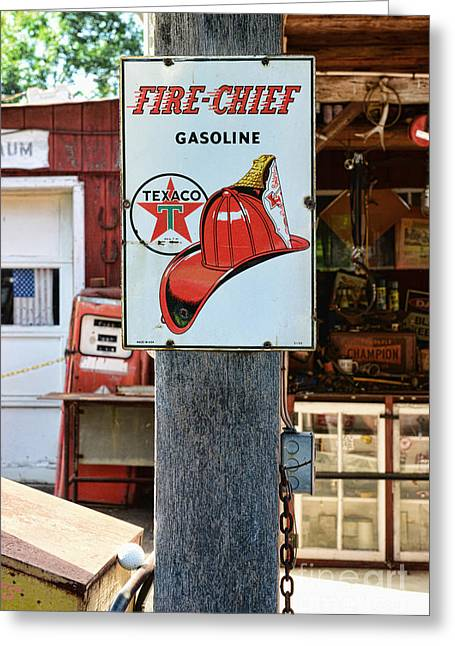 Esso Greeting Cards - Sign - Fire Chief Gasoline Greeting Card by Paul Ward