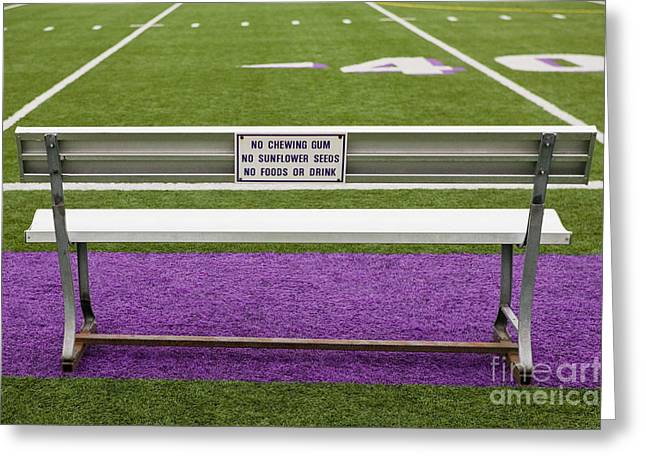 Sidelines Greeting Cards - Sign on Athletic Field Bench Greeting Card by Andersen Ross