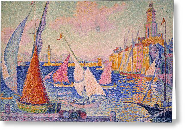 St.tropez Greeting Cards - Signac: St. Tropez Harbor Greeting Card by Granger