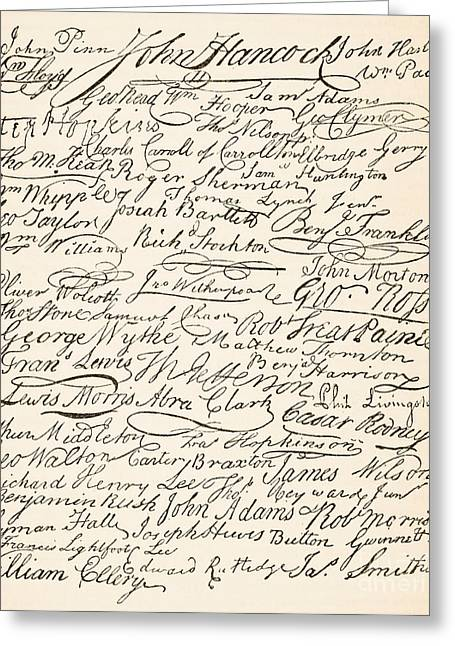 Attach Greeting Cards - Signatures attached to the American Declaration of Independence of 1776 Greeting Card by Founding Fathers