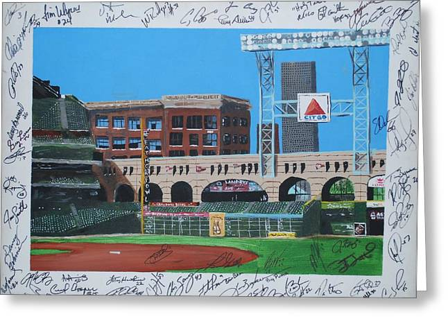 Autographed Baseball Greeting Cards - Signed Minute Maid Greeting Card by Leo Artist