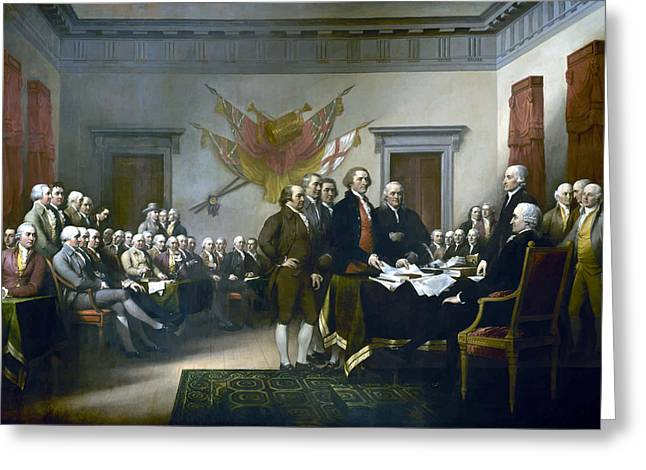 Jefferson Paintings Greeting Cards - Signing The Declaration Of Independance Greeting Card by War Is Hell Store