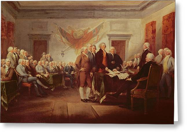 20th Century Greeting Cards - Signing the Declaration of Independence Greeting Card by John Trumbull