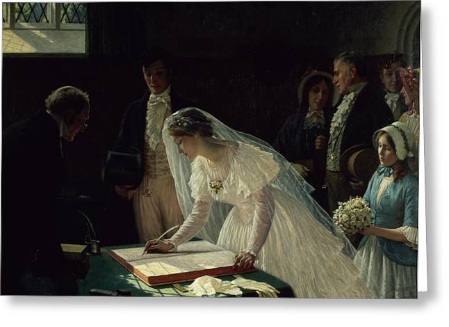 Interior Paintings Greeting Cards - Signing the Register Greeting Card by Edmund Blair Leighton