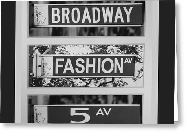 SIGNS OF NEW YORK in BLACK AND WHITE Greeting Card by ROB HANS