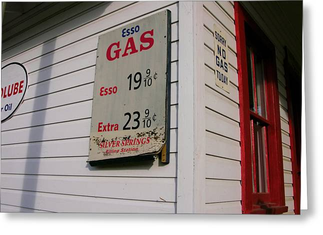 Inflation Greeting Cards - Signs On A Historic Gas Station Offer Greeting Card by Amy White & Al Petteway