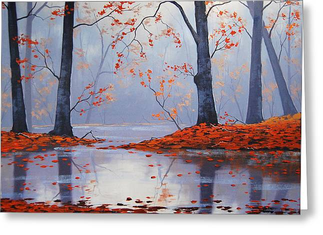 Blaze Greeting Cards - Silent Autumn Greeting Card by Graham Gercken