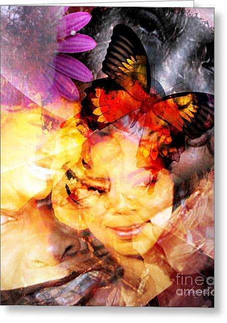 Calling Mixed Media Greeting Cards - Silent Butterfly Greeting Card by Fania Simon