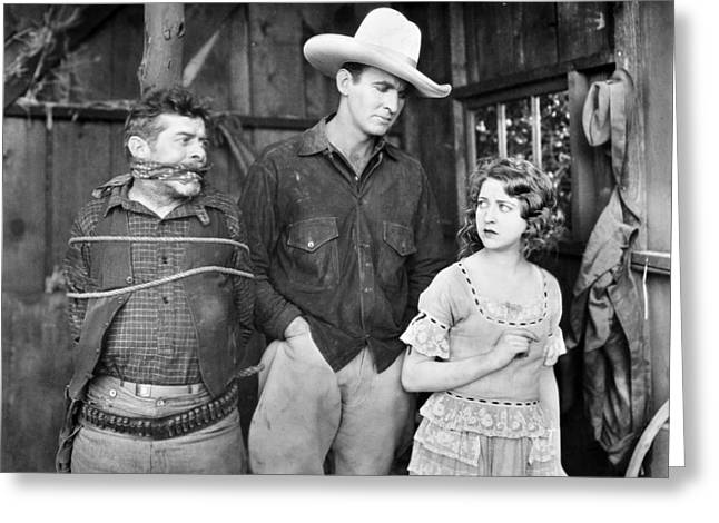 No Clothing Greeting Cards - Silent Film: Cowboys Greeting Card by Granger