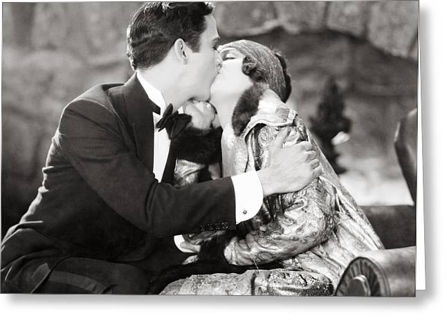 Ecromance Greeting Cards - Silent Film Still: Kissing Greeting Card by Granger
