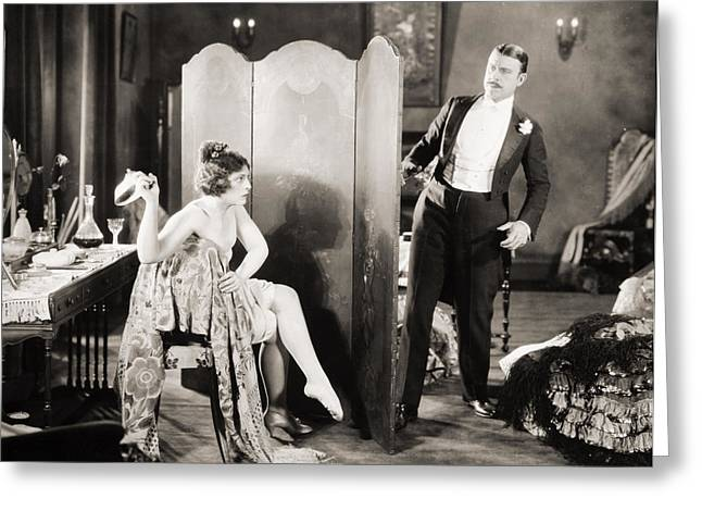 Dressing Room Greeting Cards - Silent Film Still: Legs Greeting Card by Granger