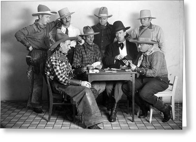 Playing Cards Greeting Cards - Silent Film Still: Poker Greeting Card by Granger