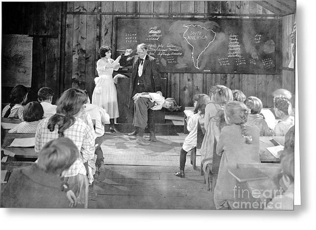 Spanking Greeting Cards - Silent Film Still: School Greeting Card by Granger