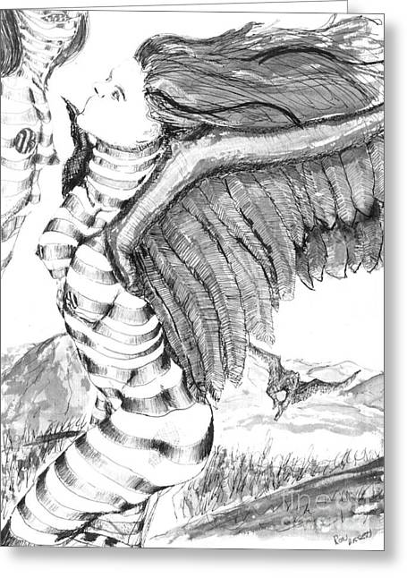 Surrealism Drawings Greeting Cards - Silent Flight Greeting Card by Ron Bissett