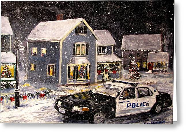 Snowy Night Night Greeting Cards - Silent Knight Greeting Card by Jack Skinner
