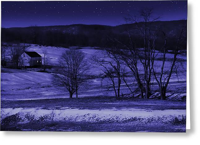 Winter Night Greeting Cards - Silent Night Greeting Card by Ron Jones