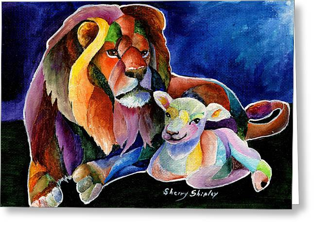 Lion And Lamb Greeting Cards - Silent Night Greeting Card by Sherry Shipley