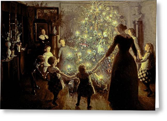 Interior Paintings Greeting Cards - Silent Night Greeting Card by Viggo Johansen