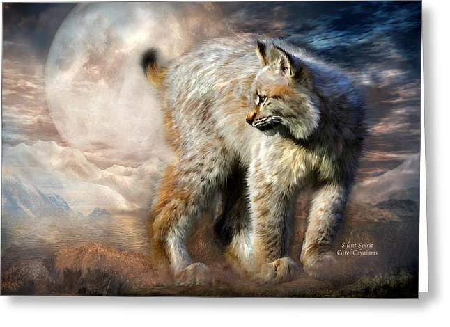 Wildcats Mixed Media Greeting Cards - Silent Spirit Greeting Card by Carol Cavalaris