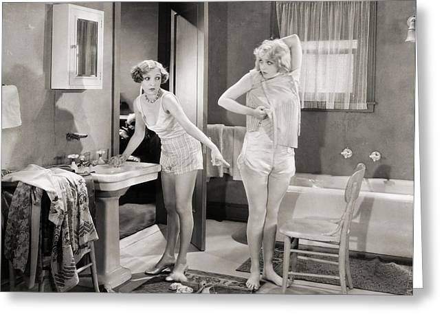 Early Sink Greeting Cards - Silent Still: Bathroom Greeting Card by Granger