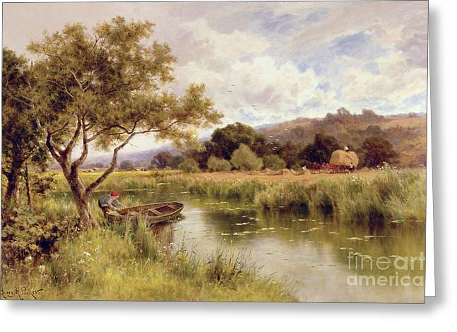 Hayrick Greeting Cards - Silent Stream Greeting Card by Henry Parker