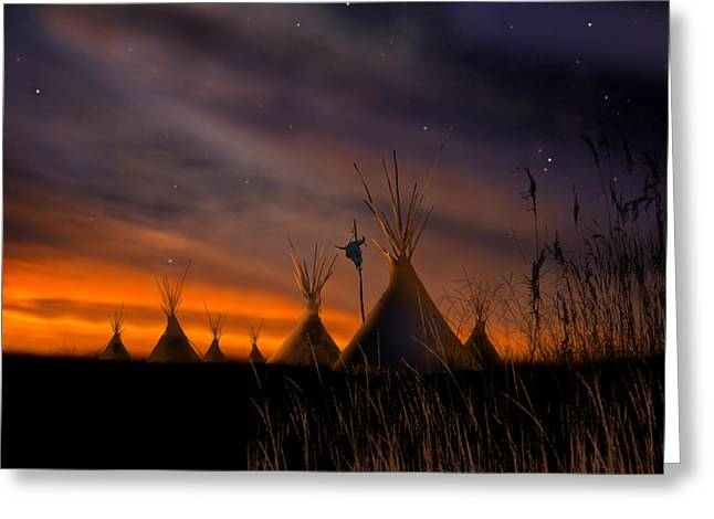 Skies Greeting Cards - Silent Teepees Greeting Card by Paul Sachtleben