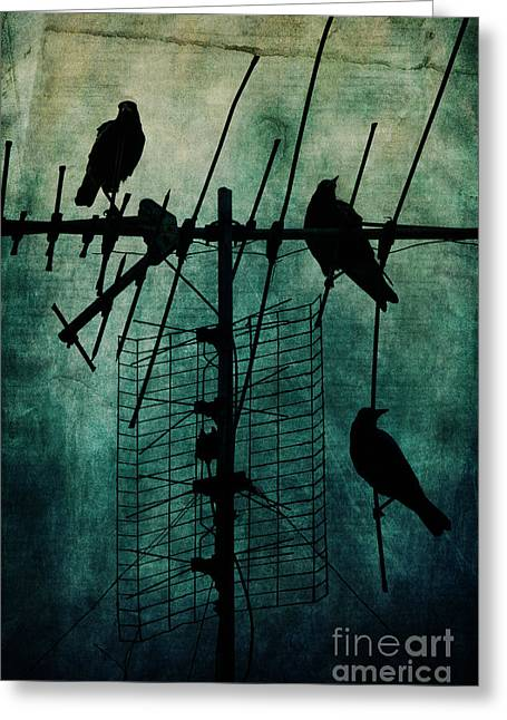 Dark Blue Green Greeting Cards - Silent Threats Greeting Card by Andrew Paranavitana
