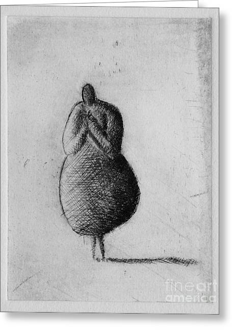 Printmaking Mixed Media Greeting Cards - Silent Greeting Card by Valdas Misevicius