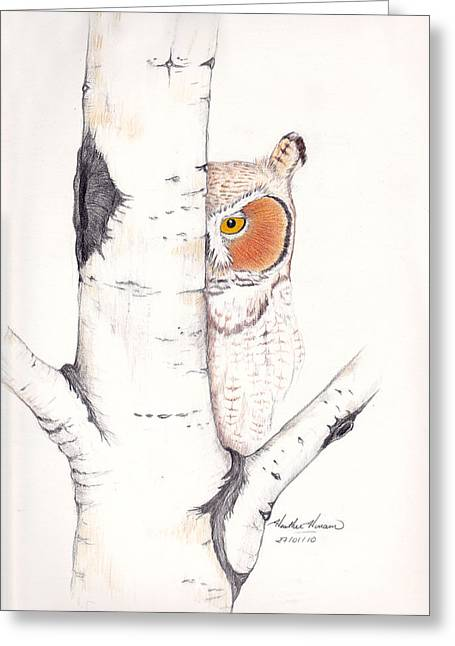 Raptor Drawings Greeting Cards - Silent Watcher Greeting Card by Heather Hinam