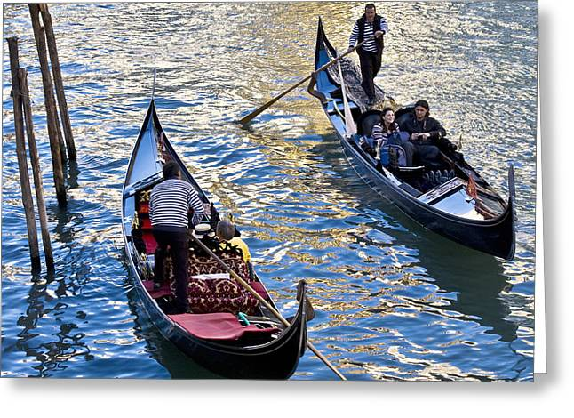 Gondolier Greeting Cards - Silently Drifting Gondolas Greeting Card by Heiko Koehrer-Wagner
