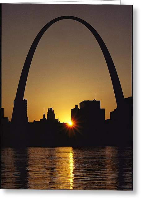 Historic Site Greeting Cards - Silhouette At Twilight Of The Gateway Greeting Card by Kenneth Garrett