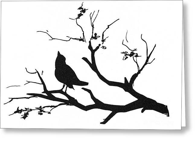 Silhouette: Bird On Branch Greeting Card by Granger