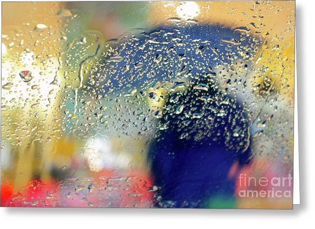Droplet Greeting Cards - Silhouette in the Rain Greeting Card by Carlos Caetano