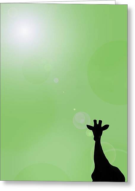 Computer Graphics Greeting Cards - Silhouette Of A Giraffe Greeting Card by Chris Knorr