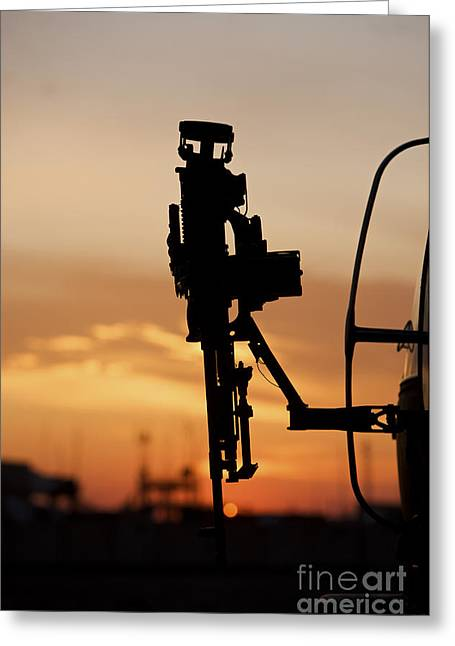 Baghdad Greeting Cards - Silhouette Of A M240g Medium Machine Greeting Card by Terry Moore
