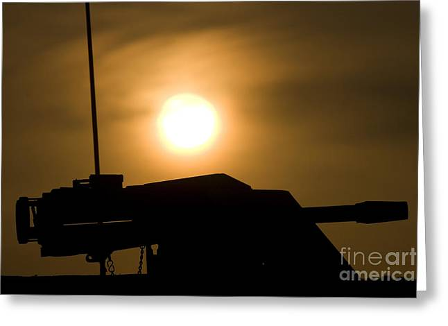 Gun Barrel Greeting Cards - Silhouette Of A Mk 19 Automatic Grenade Greeting Card by Terry Moore