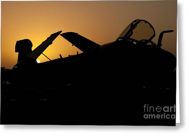 Operation Enduring Freedom Greeting Cards - Silhouette Of An Ea-6b Prowler Greeting Card by Giovanni Colla