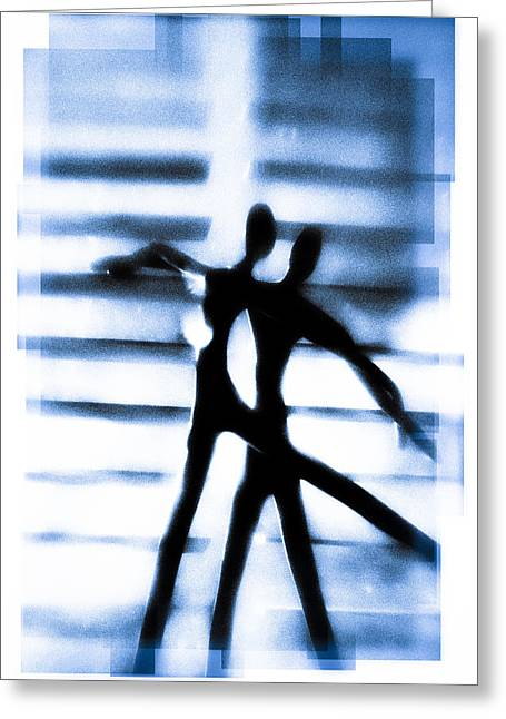 Silhouette Of Dancers Greeting Card by David Ridley
