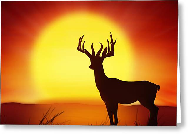 Vertebrate Greeting Cards - Silhouette Of Deer With Big Sun Greeting Card by Setsiri Silapasuwanchai