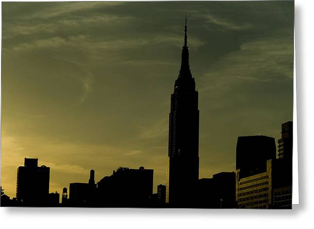 Landmark Greeting Cards - Silhouette Of Empire State Building Greeting Card by Todd Gipstein