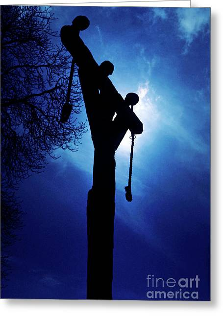 Gallows Greeting Cards - Silhouette of gallows at night Greeting Card by Sami Sarkis
