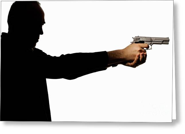One Mature Man Only Greeting Cards - Silhouette of man holding gun Greeting Card by Sami Sarkis