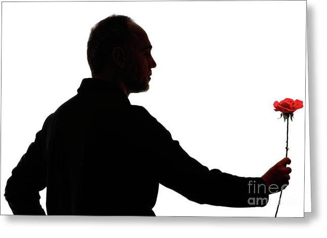 One Mature Man Only Greeting Cards - Silhouette of mature man holding rose Greeting Card by Sami Sarkis