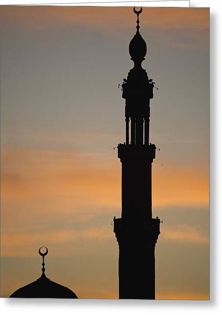 Silhouette Of Mosque At Dawn Greeting Card by Axiom Photographic