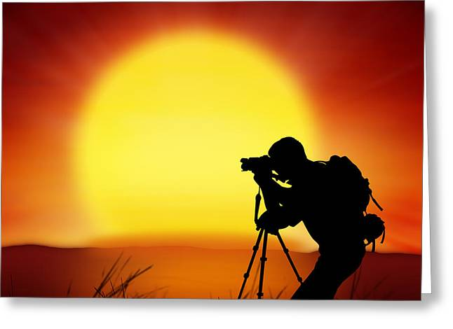 Adventure Photographs Greeting Cards - Silhouette Of Photographer With Big Sun  Greeting Card by Setsiri Silapasuwanchai
