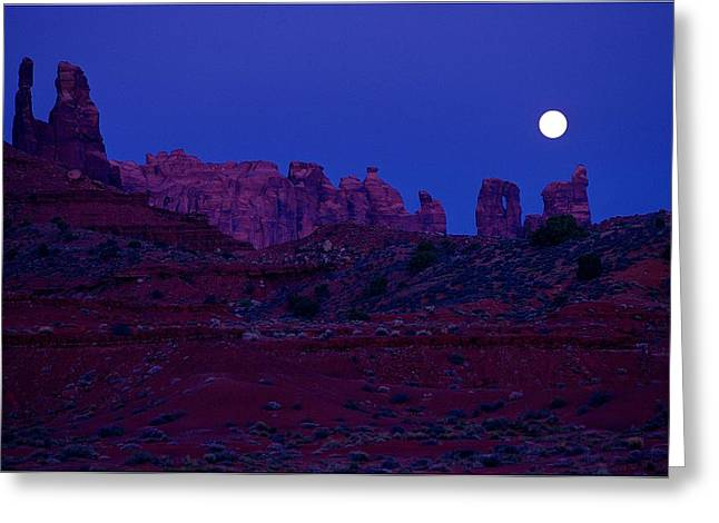 Moonlit Night Greeting Cards - Silhouette Of Rocks Against Moonlit Greeting Card by Don Hammond